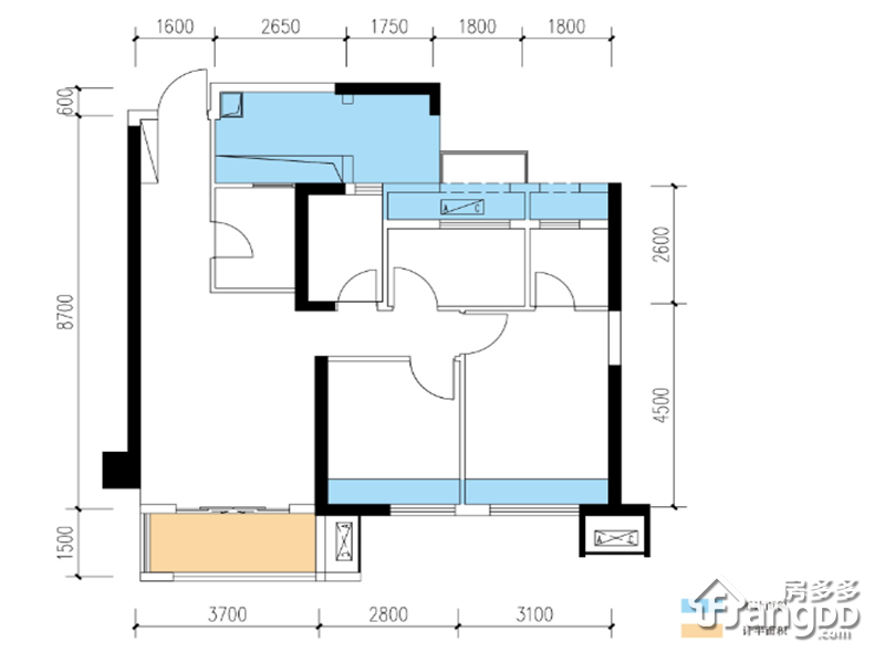 三室两厅两卫 3室2厅2卫90㎡