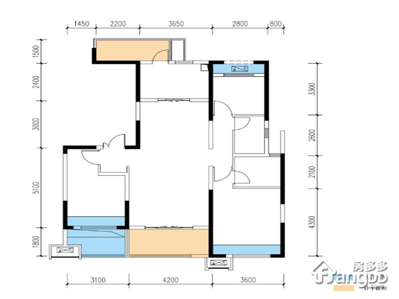 三室两厅两卫 3室2厅2卫120㎡
